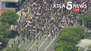 Crowds march through West Hollywood, Hollywood in protest of George Floyd killing