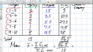 Mean and Median of Grouped Data Grade 12 Data Management Lesson 2 5 6 8 13)