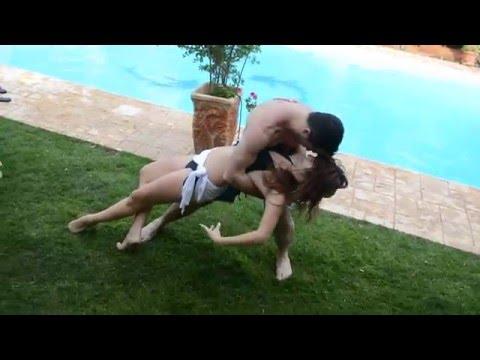 Tamar and Alon dance Sensual Bachata by the pool