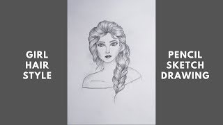 How To Draw A Beautiful Girl / Girls Hair Style Pencil Sketch Drawing || Step By Step