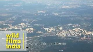 Countryside and new developments - aerial footage from outskirts of Moscow