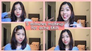 5 PHÚT makeup đi học cho da mụn, cho người mới bắt đầu   Kaylee Thao