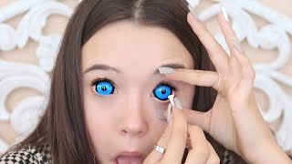 Gambar cover Putting In 4 (HUGE) Sclera Color Contacts For The First Time (Tips for you too!) ... Fiona Frills
