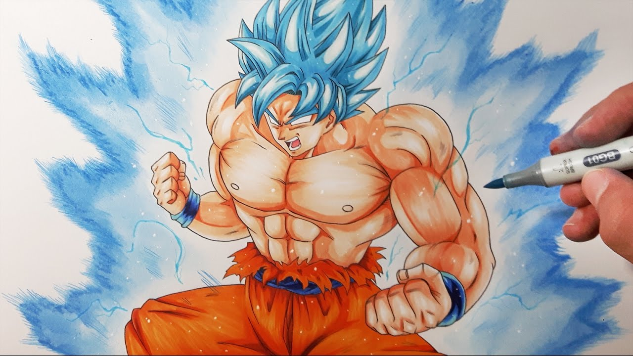 Drawing Goku Ultra Super Saiyan Blue Drawing Battle Vs Dibujame Un Tolg Art And Mula Draws
