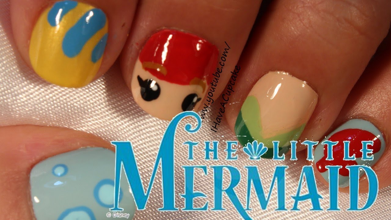 Little Mermaid Nail Art - Little Mermaid Nail Art - YouTube