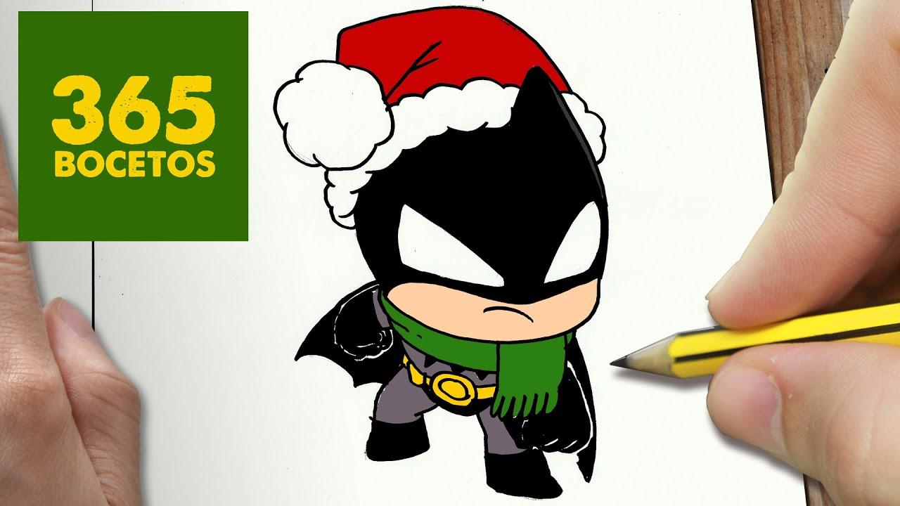 COMO DIBUJAR A BATMAN PARA NAVIDAD PASO A PASO: Dibujos kawaii ...