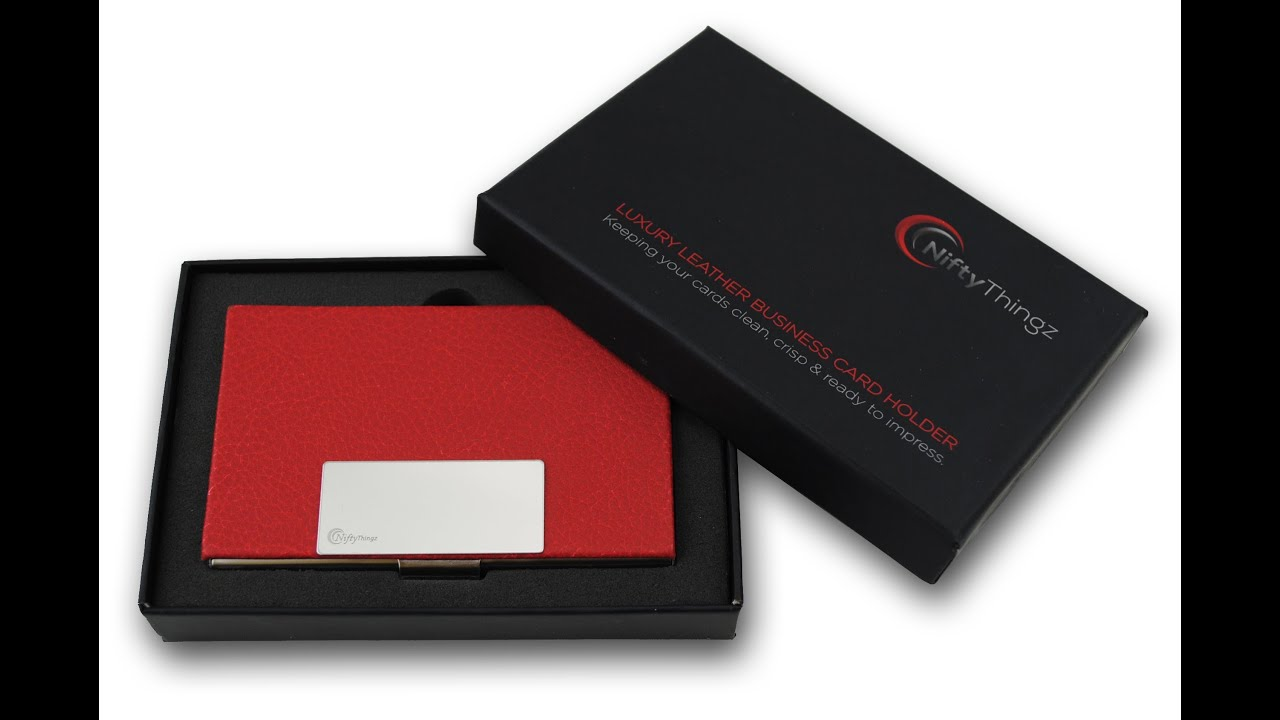 Red Leather Business Card Holder For Men & Women - YouTube