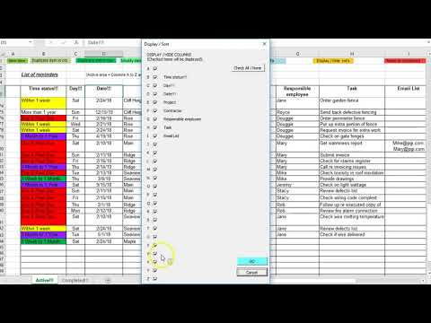 Project manager reminder / to-do list spreadsheet in Excel - YouTube