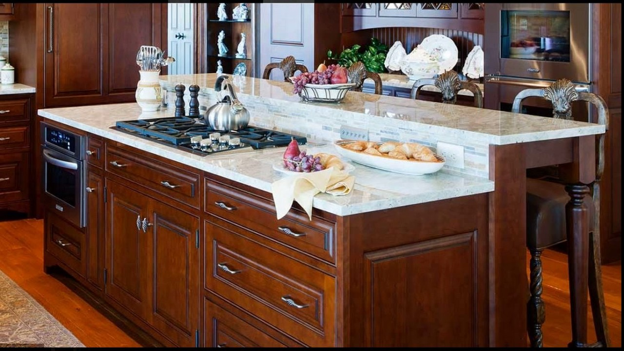 Center island cooktop kitchen designs - YouTube on