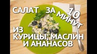 Салат из курицы и ананасов. Вкусный рецепт салата с курицей, ананасами и маслинами.