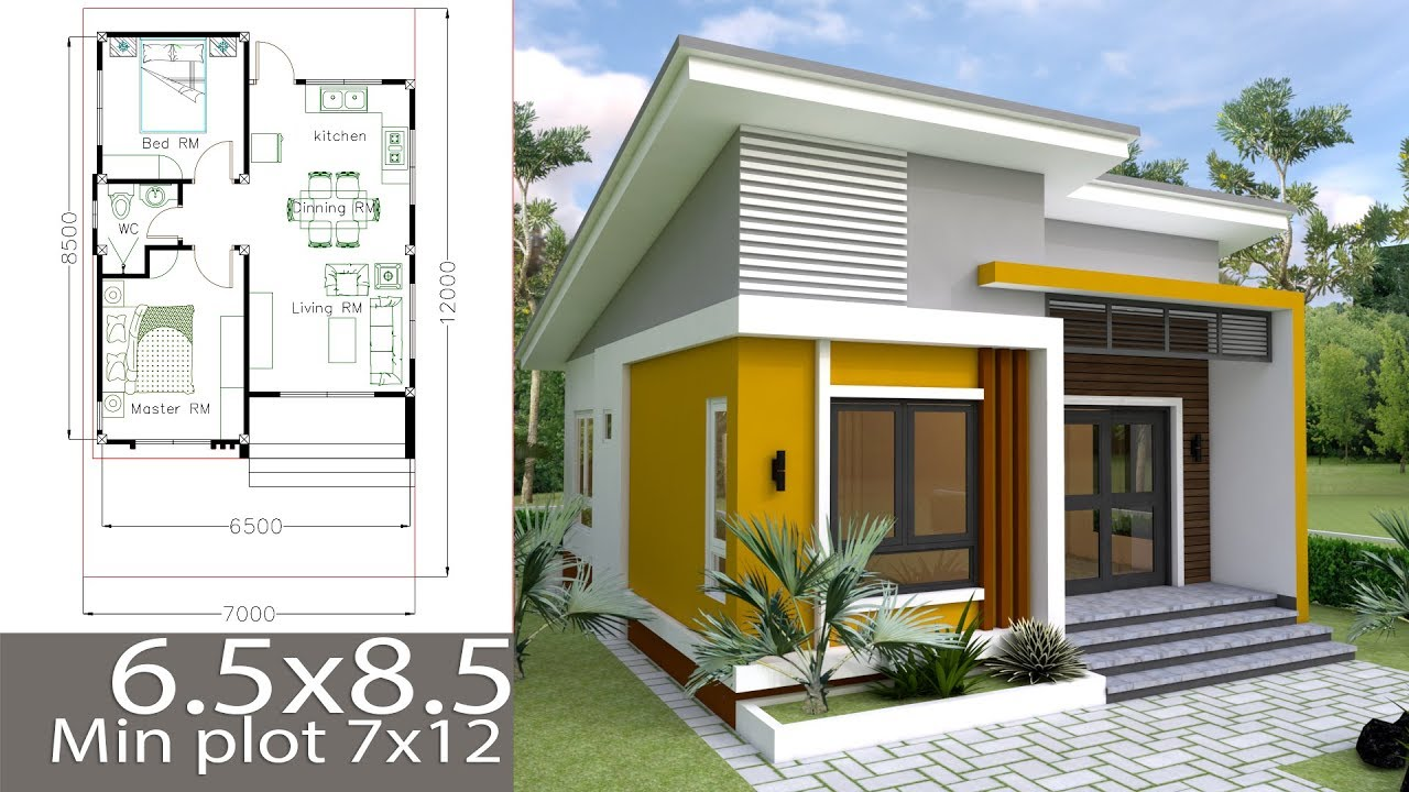 Home Design Ideas For Small Houses: Small Home Design Plan 6.5x8.5m With 2 Bedrooms
