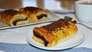 Chocolate-Filled Croissant (Pain au Chocolat) - Easy Puff Pastry Dessert Recipe