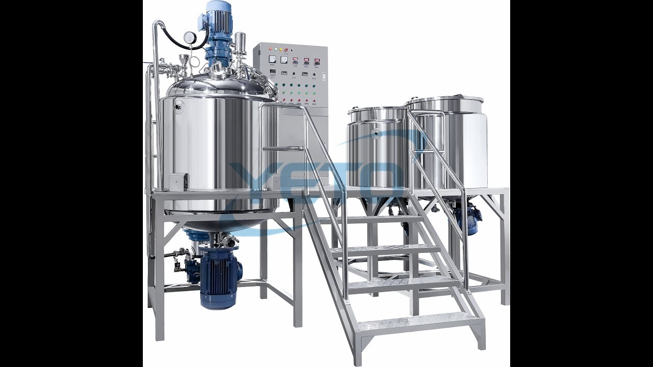 500L stable vacuum emulsifying homogenizer blending mixer with oil and  water tank teaching video
