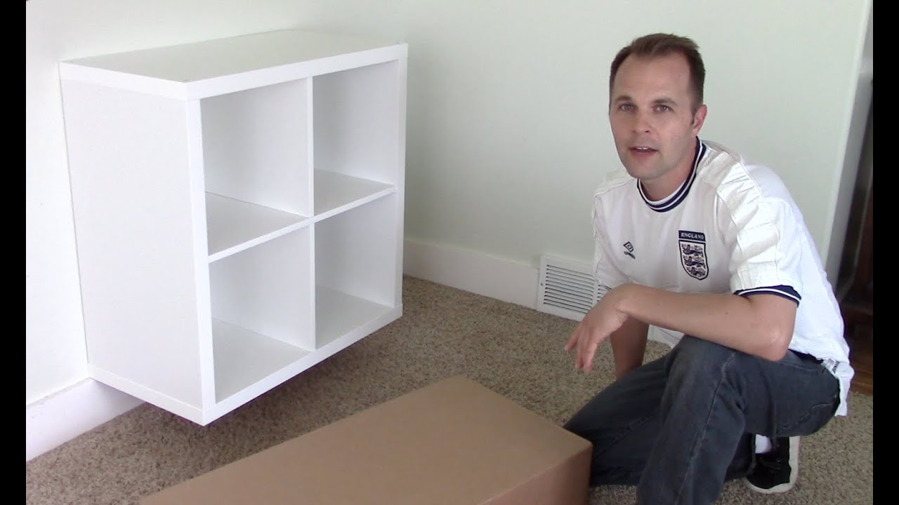 ikea expedit kallax shelf how to assemble and wall mount bookcase funnycat tv. Black Bedroom Furniture Sets. Home Design Ideas