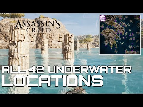 Assassins Creed Odyssey ALL 42 UNDERWATER LOCATIONS (CHILD OF POSEIDON TROPHY GUIDE)