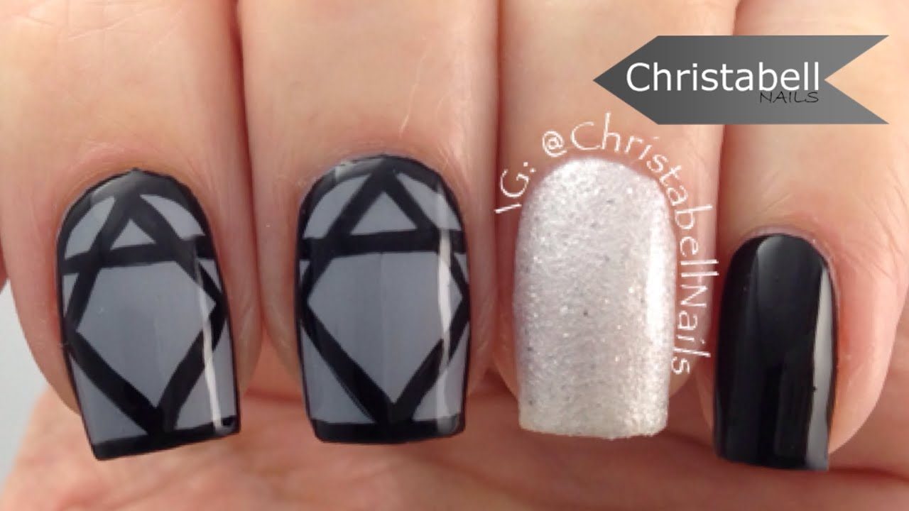 Abstract Diamond Nail Art - Quick and Easy Tutorial - YouTube