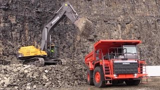 Volvo EC700C Excavator Loading Hitachi EH1100-5 Mining Truck @ Steinexpo 2014
