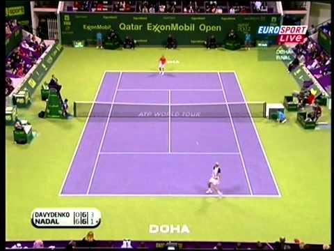 Davydenko Nadal Doha  2010 highlights
