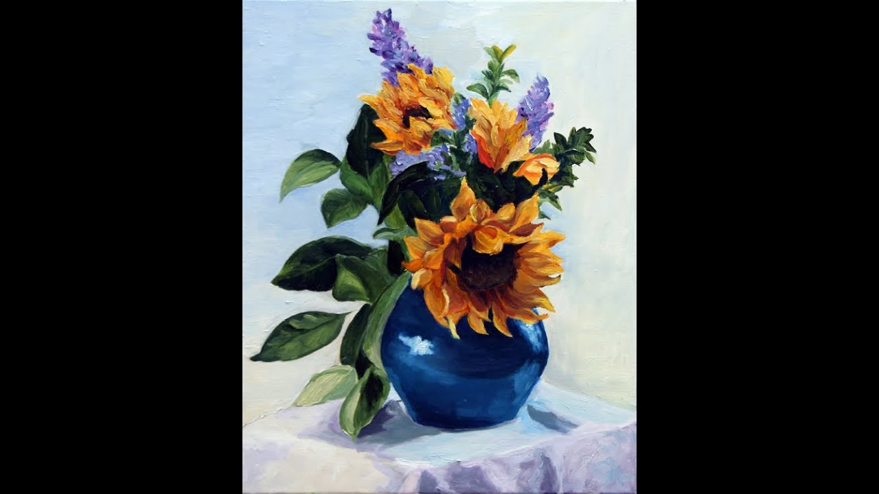 Painting sunflowers in a blue vase by kitty moore for How to paint flowers with oil paint