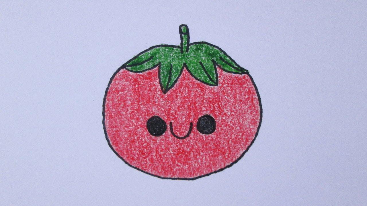 Cómo Dibujar Un Tomate Kawaii