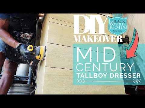 DIY Mid Century Tallboy Dresser Makeover in Grey