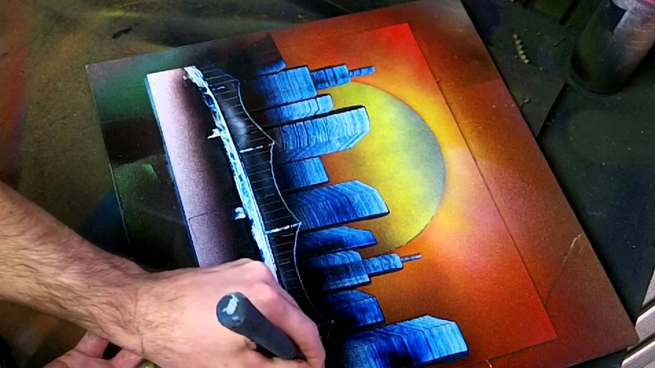 Simple Sunset Skyline - Spray Paint Art - YouTube