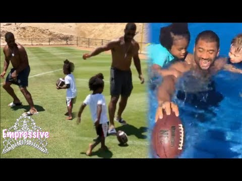 Download Youtube: Russell Wilson teaching his son Baby Future how to play sports! Cute Clips