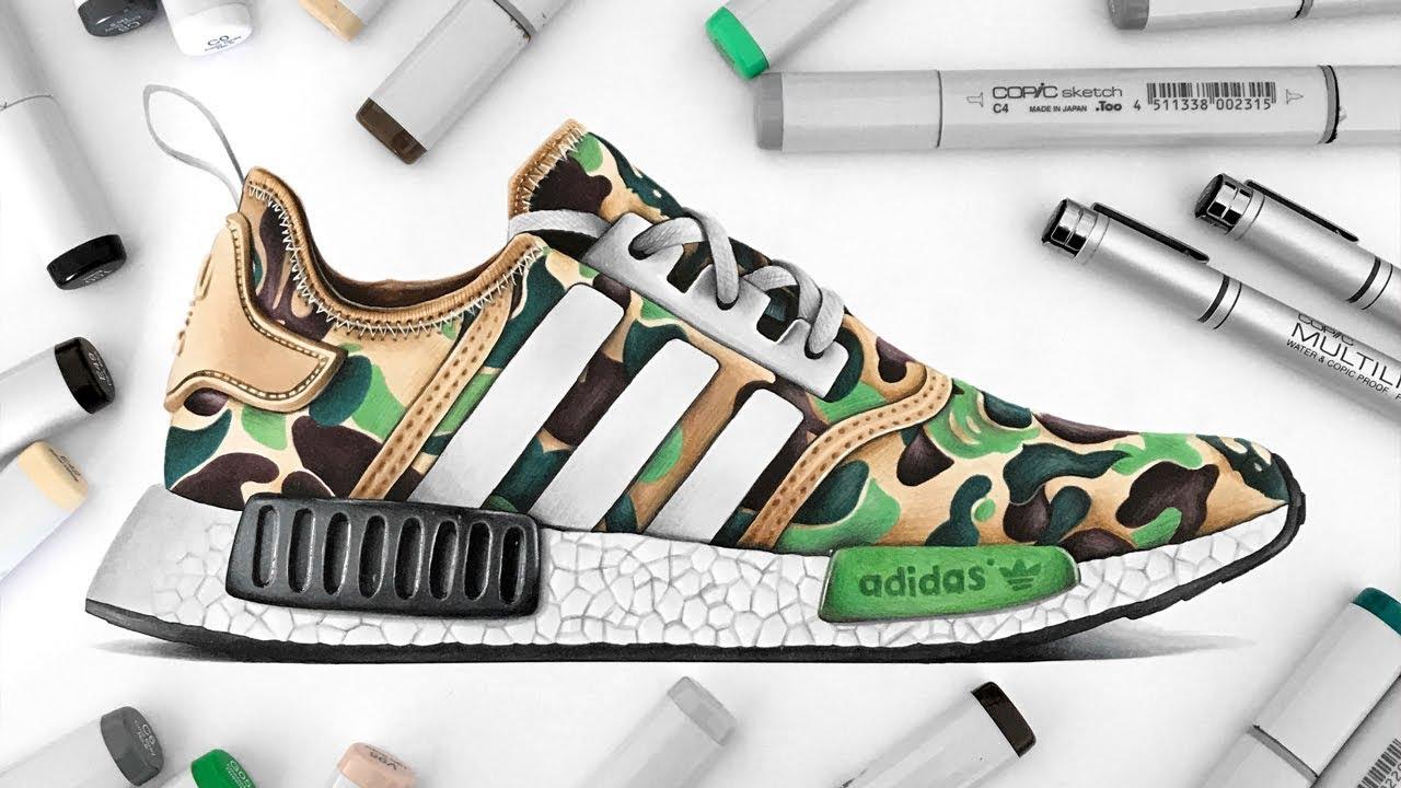 new concept b86c0 e93eb Drawing BAPE x Adidas NMD