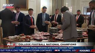FAST FOOD FEAST: Burgers, pizza, salads, OH MY! Pres. Trump Hosts Clemson Tigers at White House
