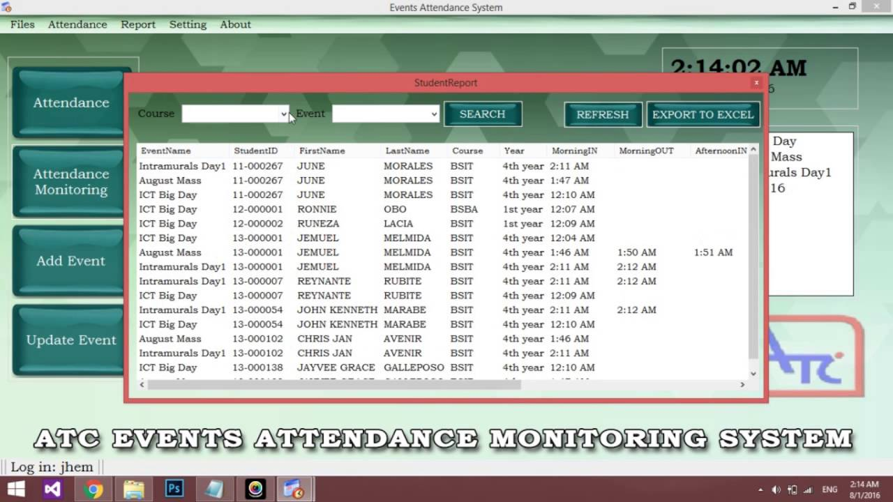 barcode attendance system project