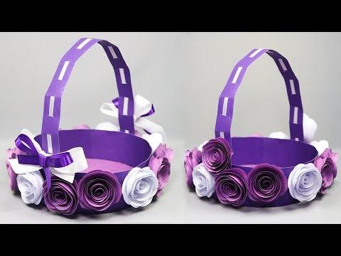 DIY Paper Basket | How To Make Paper Flower Basket | Paper Crafts