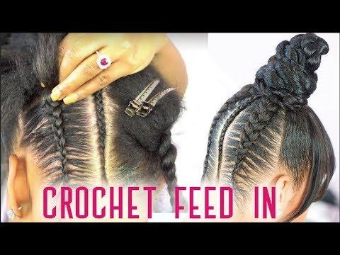 Crochet Feed In Braids Top Knot Bun With Faux Bangs No Glue