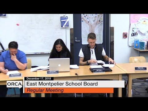 East Montpelier School Board - December 17, 2018