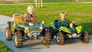 Power Wheels Tug-of-War 2 - Jeep Hurricane vs Dune Racer!