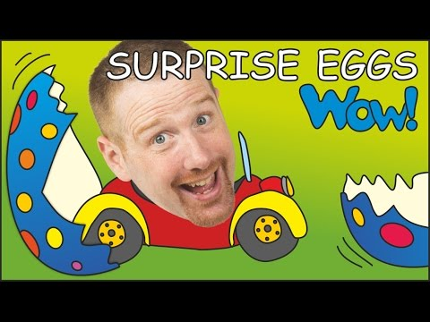 Surprise Eggs Toys for Kids from Steve and Maggie   English Stories for Children from Wow English TV