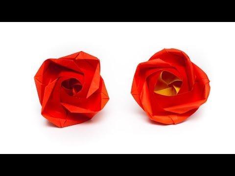 การพับกระดาษเป็นดอกกุหลาบแบบฐานกังหัน Origami Rose   Evi Binzinger
