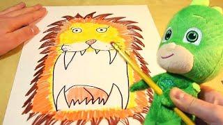Che Leone! Disegniamo e coloriamo coi PJ MASKS SUPER PIGIAMINI [COLORI e ALFABETO con Geko]