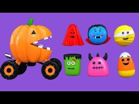 Цвета Для Детей, Чтобы Учиться С Игрушками Packman Мультфильма - Хэллоуин Цвета Видео Для Детей