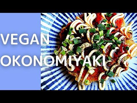 Okonomiyaki Recipe (VEGAN) with homemade deliciouse sauce! Popular Japanese street food in 15mins!