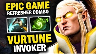 THE LEGEND IS REAL!! VURTUNE INVOKER PERFECT COMBO WITH REFESHER ORB - DOTA 2 INVOKER 7.21