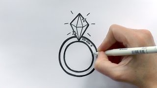 How to Draw a Cartoon Diamond Ring For Valentine