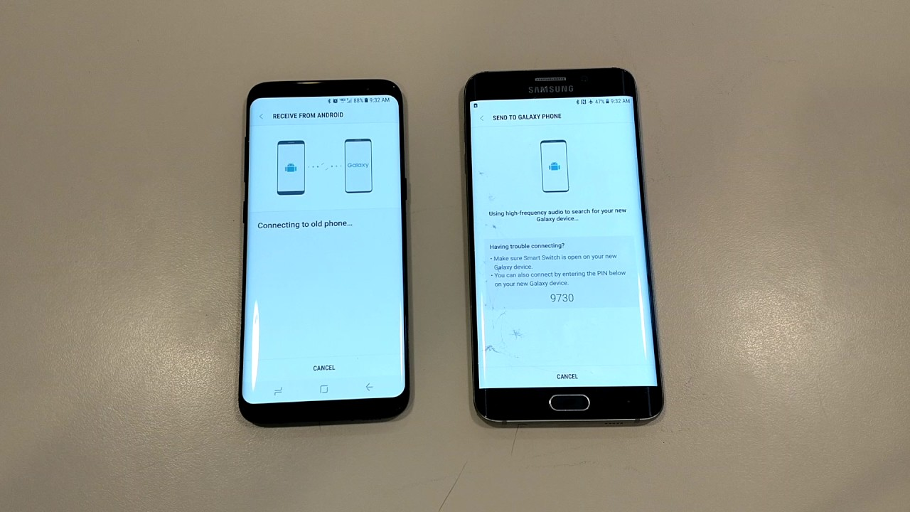 Using Samsung Smart Switch Wireless Galaxy S7 S8 S9 Note9 Transfer Tool
