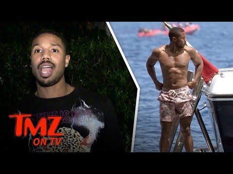 Michael B. Jordan Shirtless Boat Ride in Italy  TMZ TV