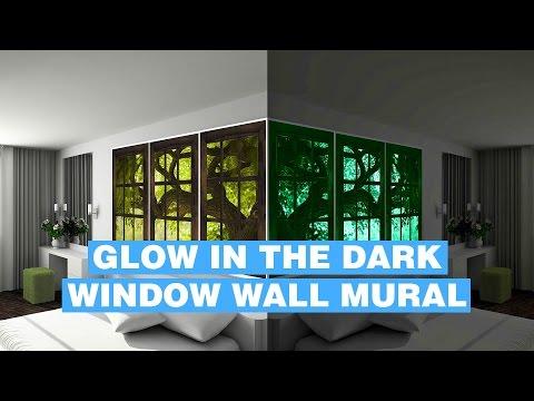 Glow In Dark Wall Mural - Fake Window Glowing Wall Mural