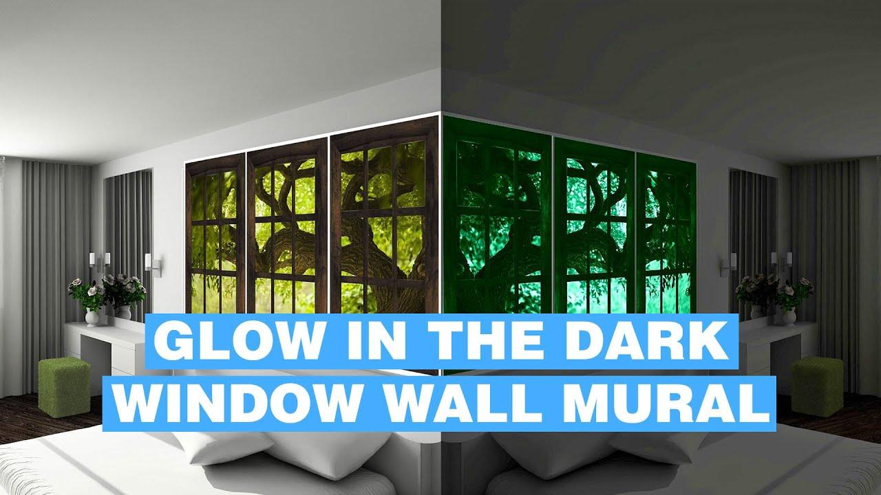 Glow In Dark Wall Mural - Fake Window Glowing Wall Mural ...