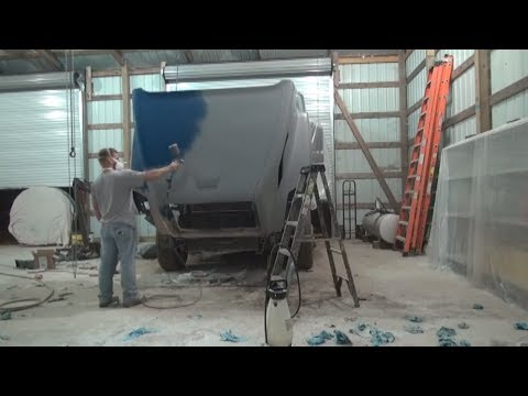 Semi truck fiberglass hood repair part 2
