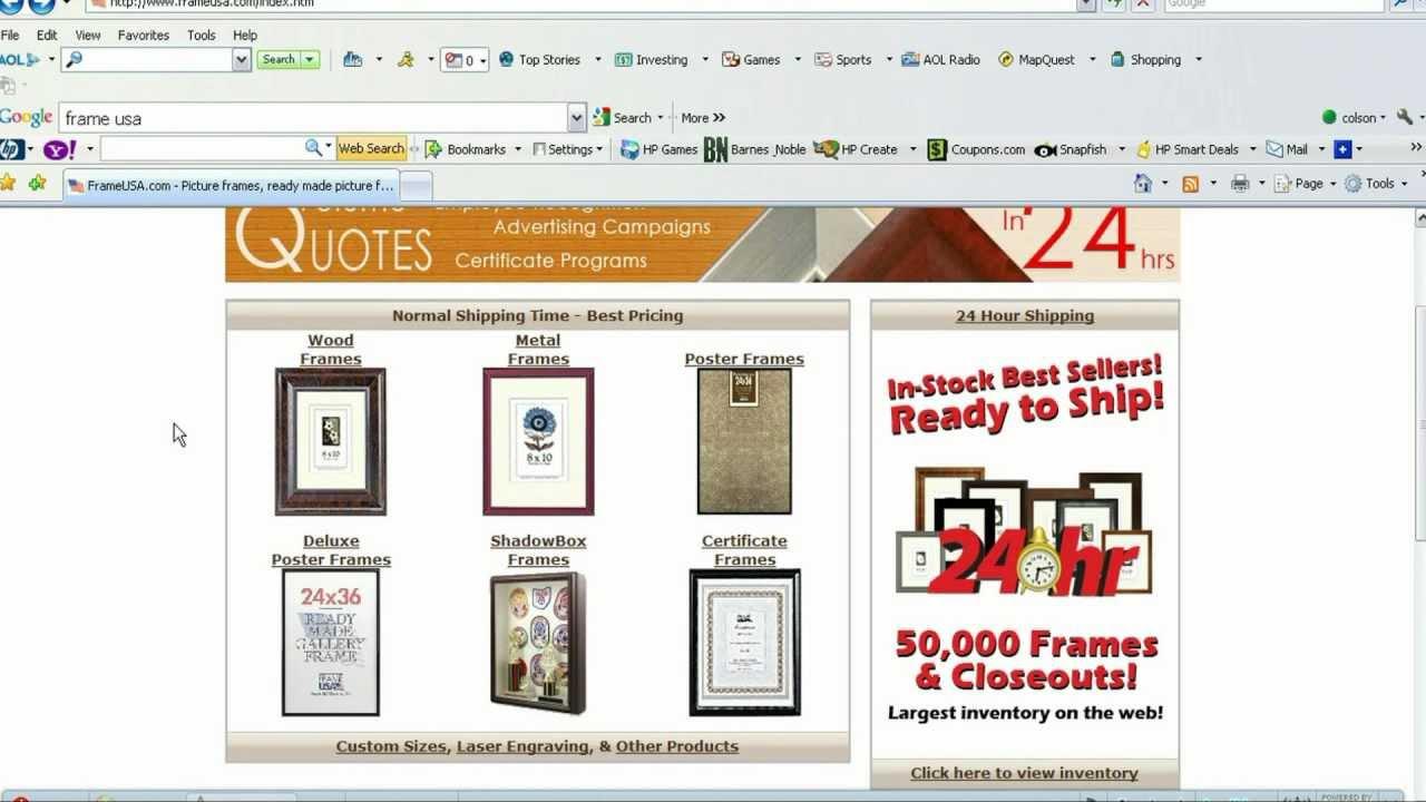 Frame USA- How to Order Custom Frames Online - YouTube