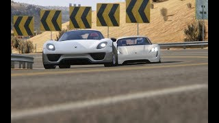 Battle Porsche Mission R Concept vs Porsche 918 Spyder at Black Cat Country