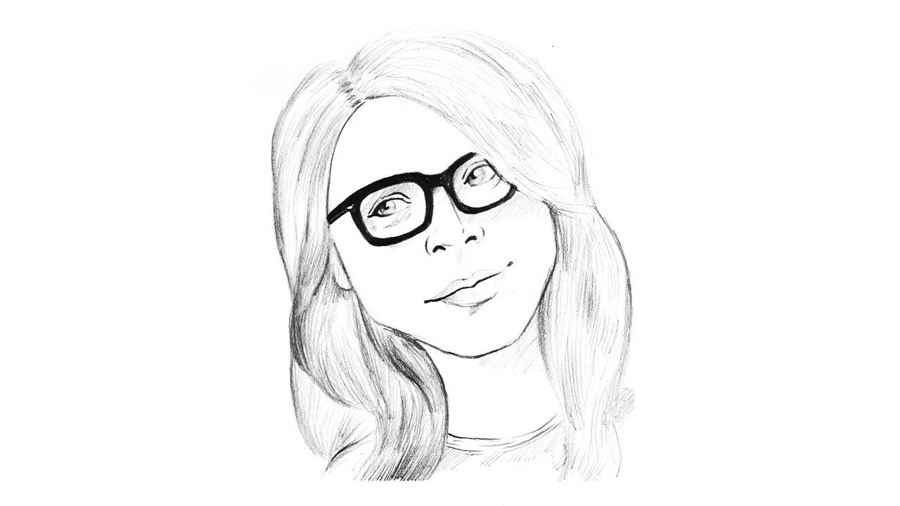 How to draw a girl with glasses step by step face sketch