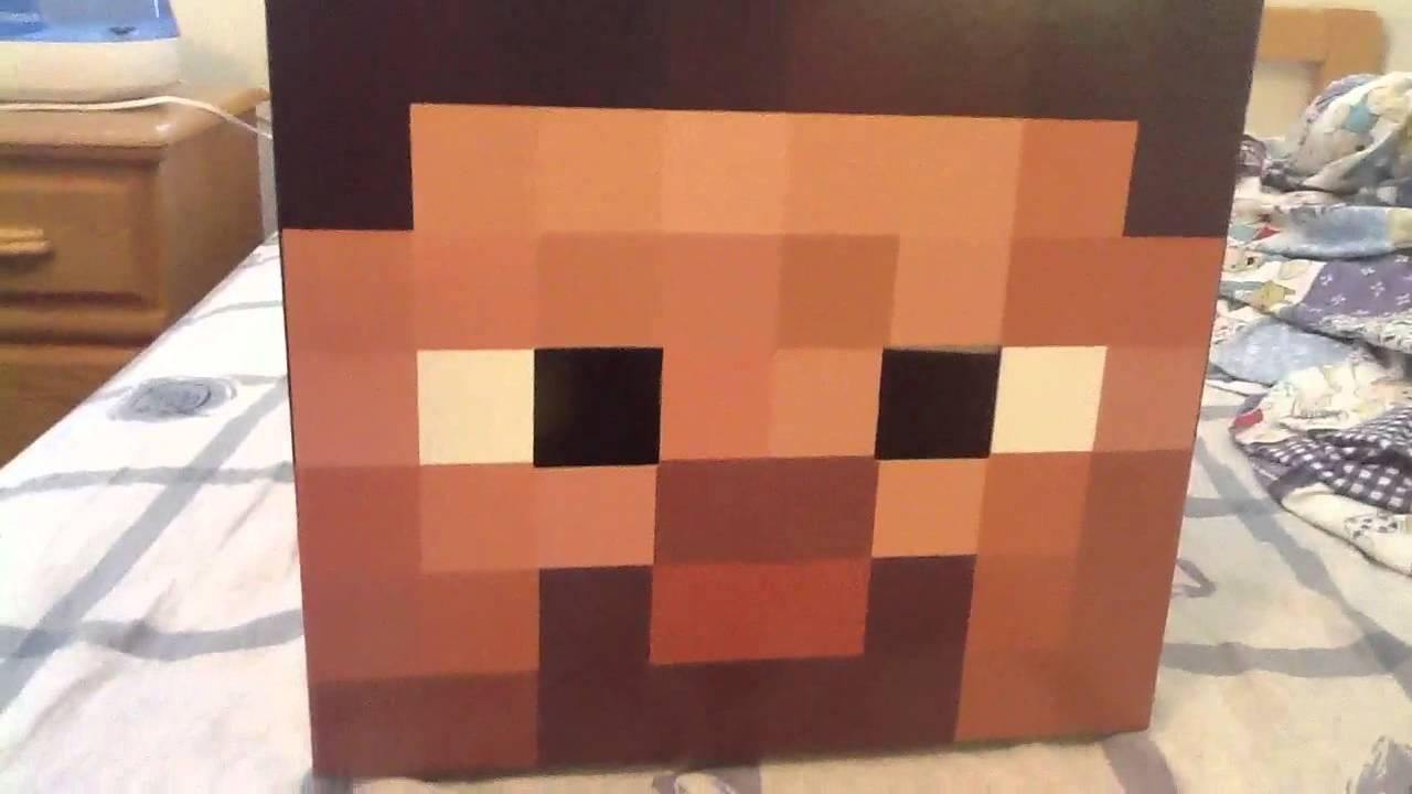 Minecraft Cardboard Steve Head - YouTube